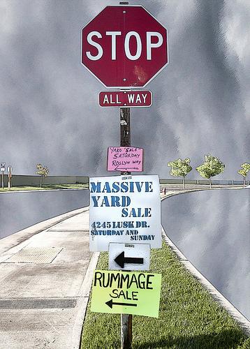yard sale sign post
